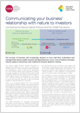 Communicating your business' relationship with nature to investors